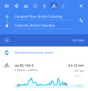 Campbell River to Parksville Coastal Elevation