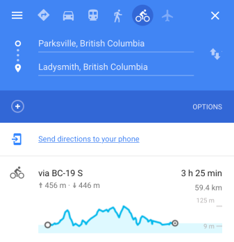 Parksville to Ladysmith on 19 Elevation