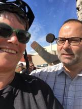 Jill and David Selfie in front of Aquatic Centre. Terry and Ken are in the background.