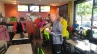 Pedalers enjoying a welcome break from the horrible wind and rain.