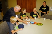 Serving lunch inside the dry Nanaimo Alliance Church.