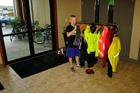 Our youngest pedaler Brett trying to get dry.