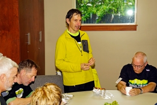 Kevin talking about the Pedaler's Wrap at Nanaimo Lunch