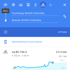 Courtenay to Bowser Elevation